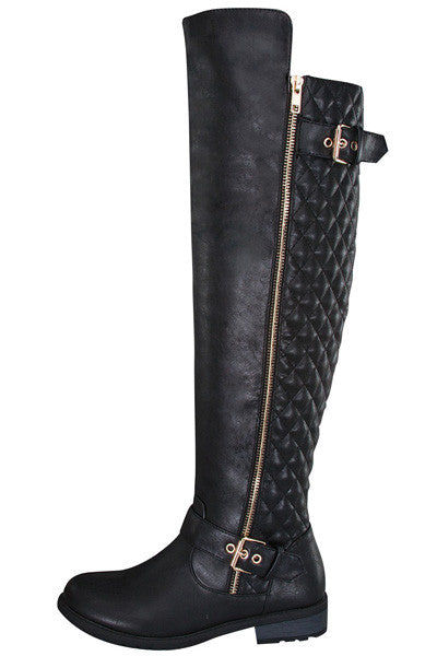 Riding Boots With Gold Zipper