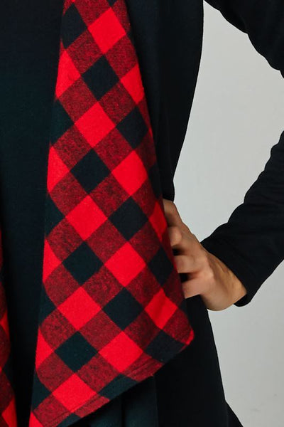 Cardigan With Plaid Accent