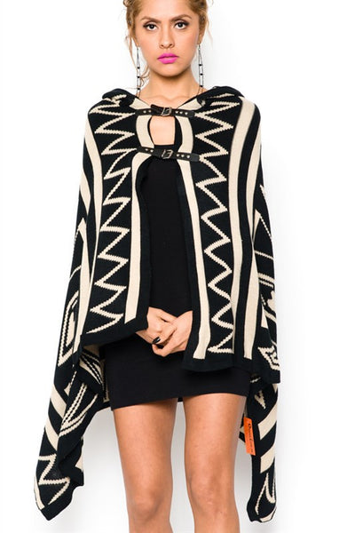 Hooded Buckle Cardigan