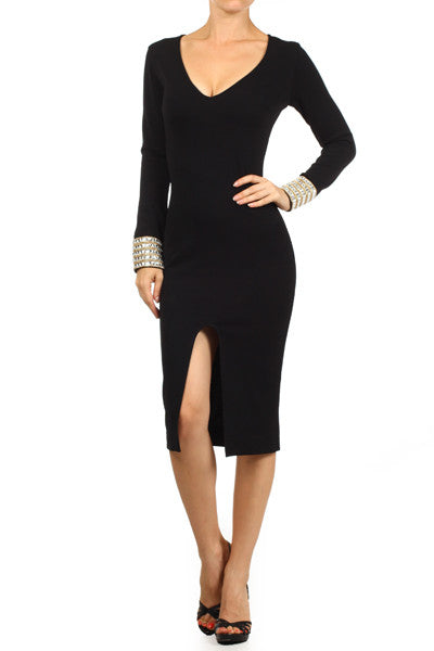 Rhinestone Cuff Black Midi Dress