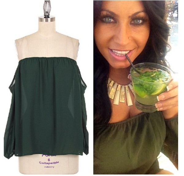 Green Off Shoulder Chiffon Top