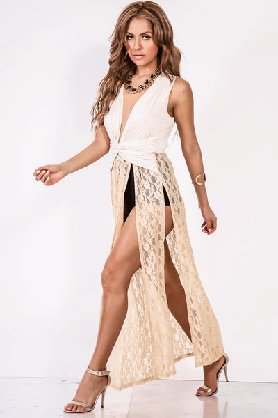 Drape Front Deep V Sheer Lace High Slip Maxi Tunic