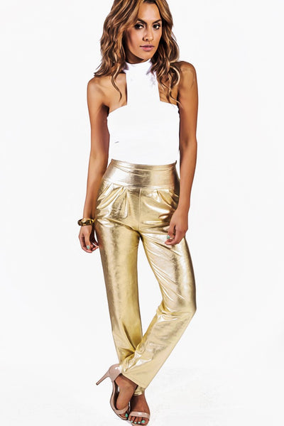 Leather Pleat Front High Waisted Dress Pants