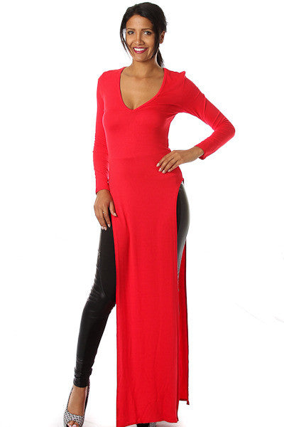 Long Sleeve Double Slit Maxi Top
