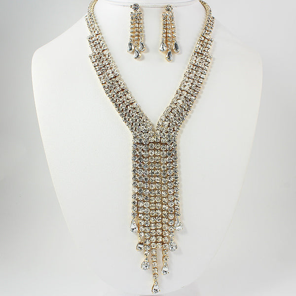 Fringed Rhinestone Necklace Set