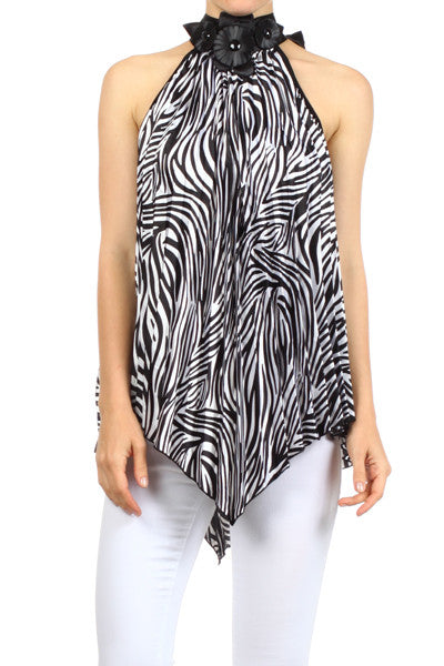 Zebra Print Asymmetrical Top