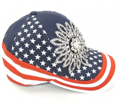 USA Rhinestone Flower Baseball Cap