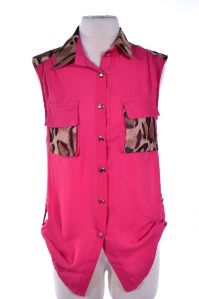 Fuchsia Blouse With Animal Print