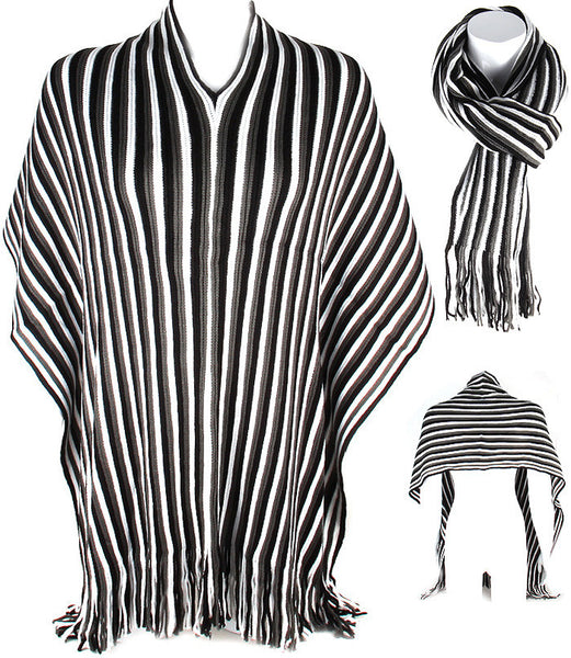 Black & White Poncho And Ruana