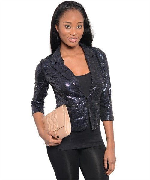 Navy Sequins Jacket