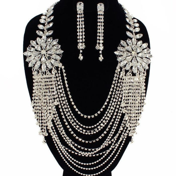Dripping Crystal Necklace Set