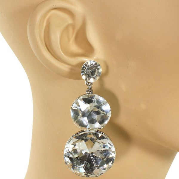 Dripping Crystal Circle Stud Earrings