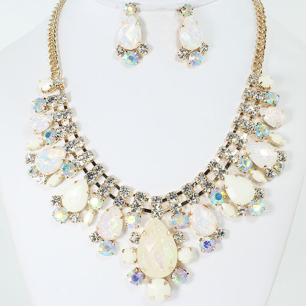 Fashion Stone With Crystals Necklace Set