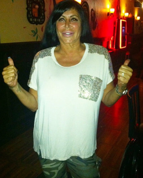 Sequin Covered Beige Glam Top AS SEEN ON BIG ANG
