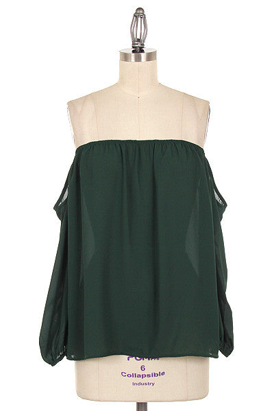 Green Off Shoulder Chiffon Shirt