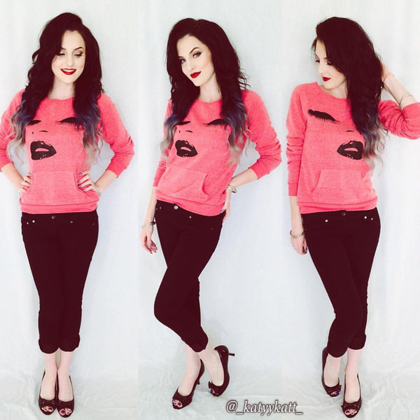 Lips & Lashes Off Shoulder Sweatshirt