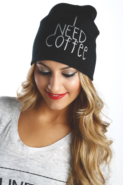 I Need Coffee Knit Beanie