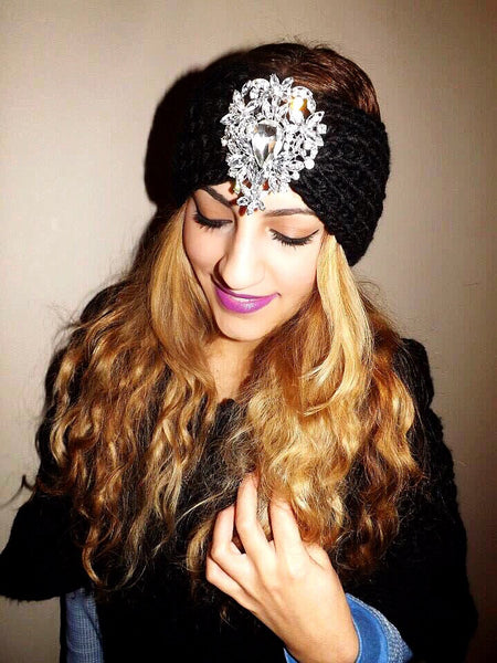 Statement Crystal Tear Drop Ear Warmer