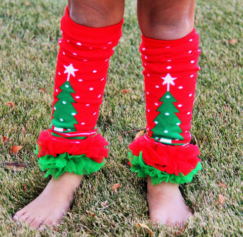 Christmas Tree Polka Dot Legwarmers