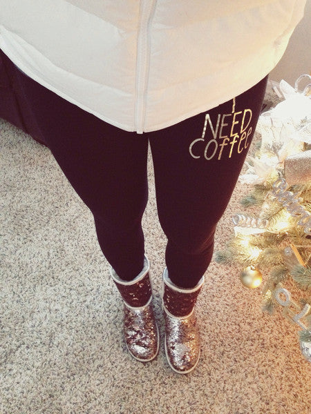 I NEED COFFEE Foil Print Leggings