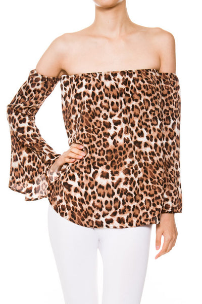 Leopard Print Off Shoulder Top with Bell Sleeves