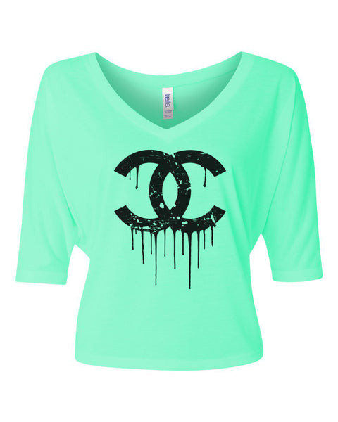 Neon Dripping CC's Flowy V Neck Shirt