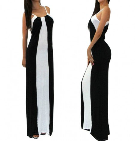 Color Block Striped Maxi Dress