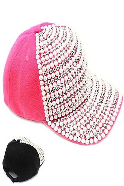 Rhinestone and Pearl Fashion Cap