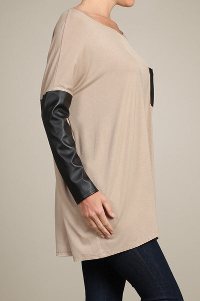 Black Tunic With Pleather Sleeves