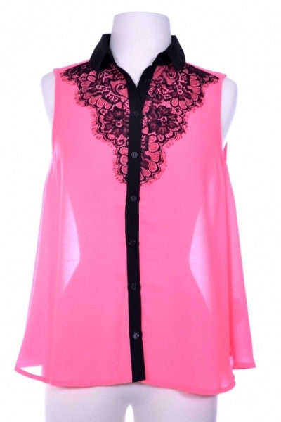 Pink Blouse with Black Lace