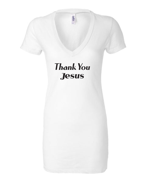 Thank You Jesus White V-Neck