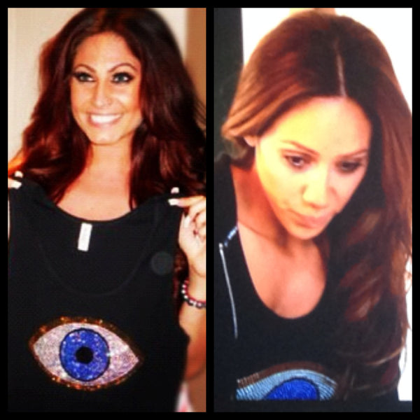 Rhinestone Evil Eye Shirt Seen On Tracy DiMarco