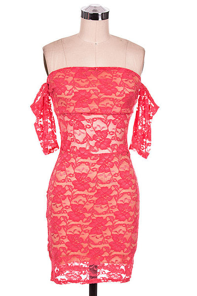 Coral Lace Bodycon Off Shoulder Dress