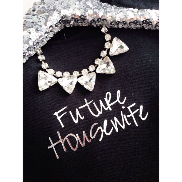 Future Housewife Metallic Print Off Shoulder Sweatshirt