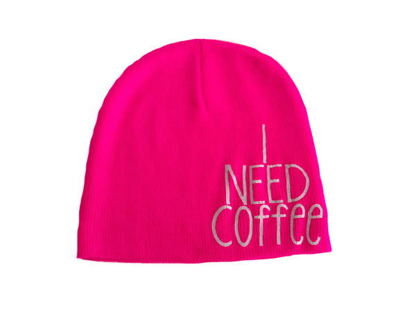 I Need Coffee Knit Beanie Hat