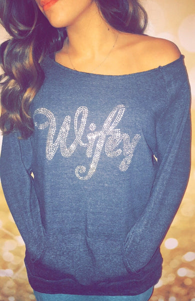 Bling Wifey Off The Shoulder Sweatshirt