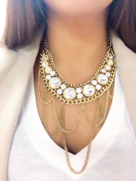Gold Rhinestone Chain Necklace