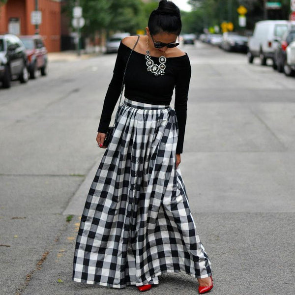 Black & White Check Maxi Skirt