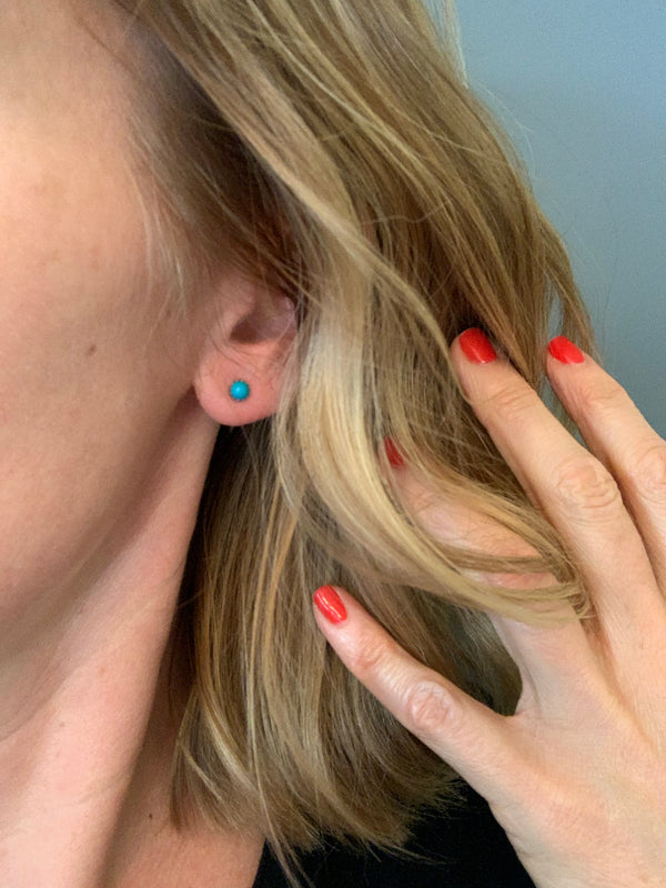 Tiny Turquoise Stud Earrings