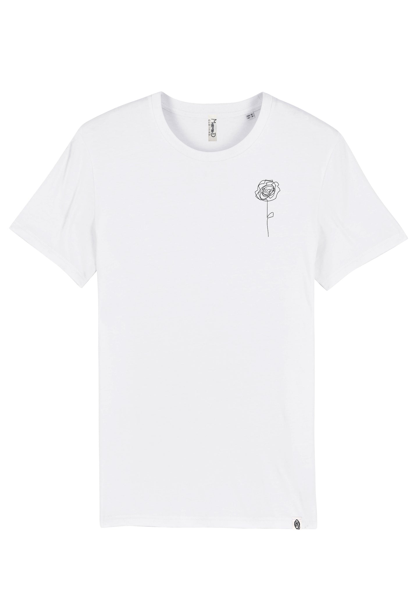 T-shirt Blanc - Rose one line - Mood Clothing