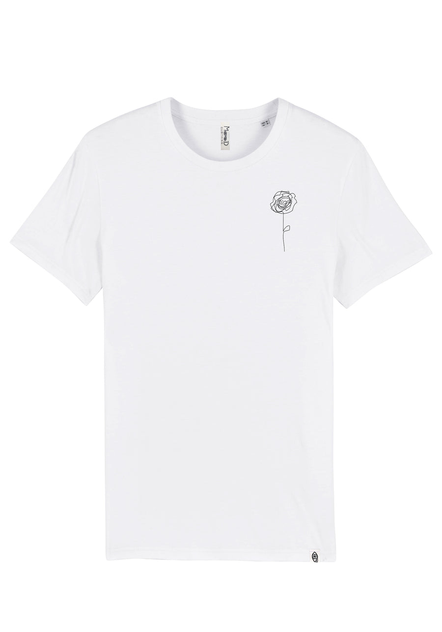 T-shirt Blanc - Rose one line