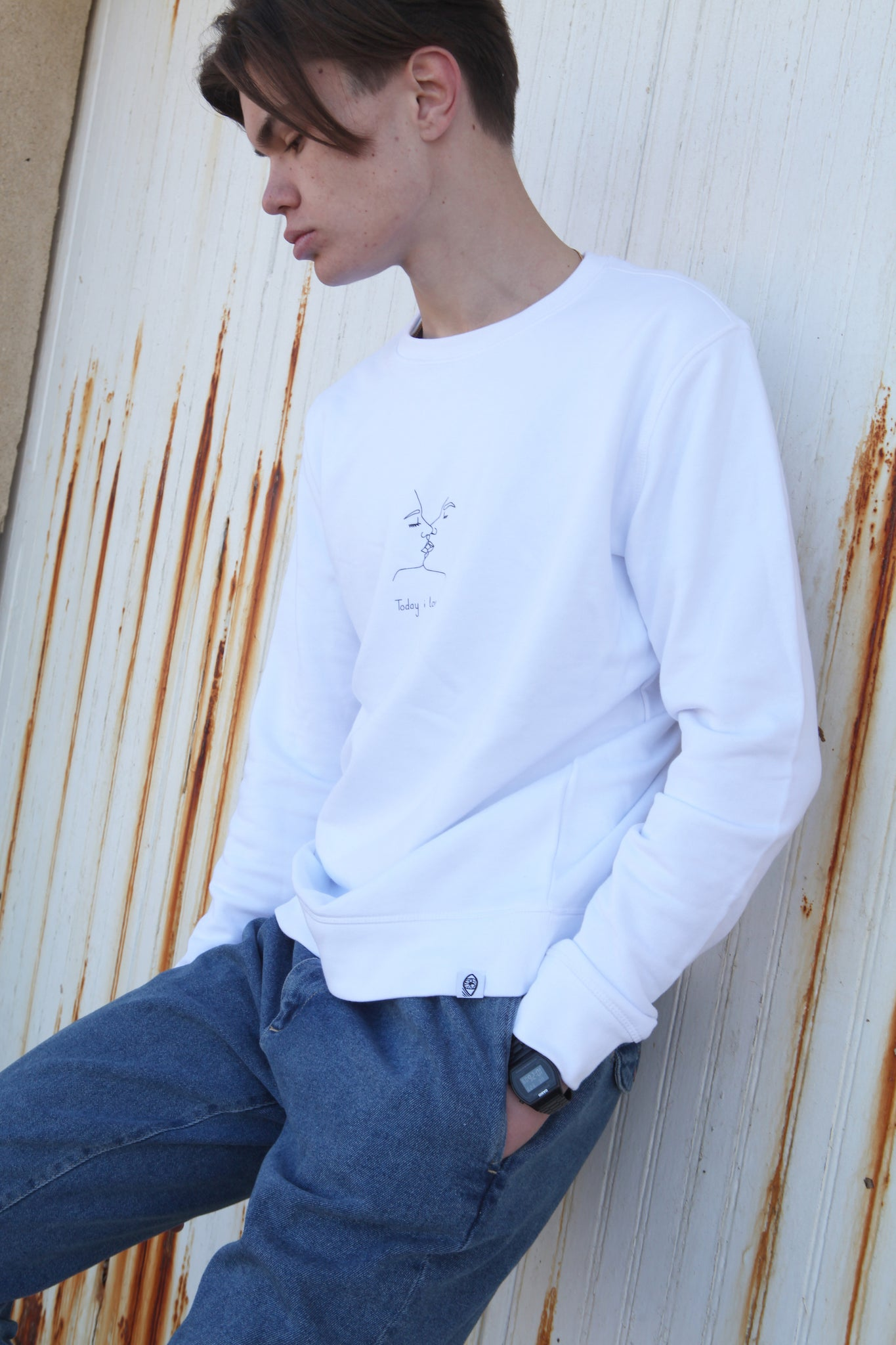 Sweatshirt Blanc - Today i love u - Mood Clothing