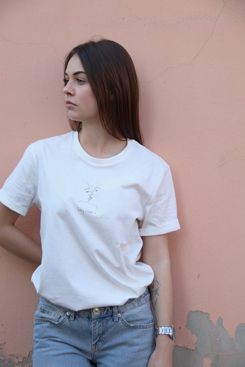 T-shirt off white - Today i love u - Mood Clothing