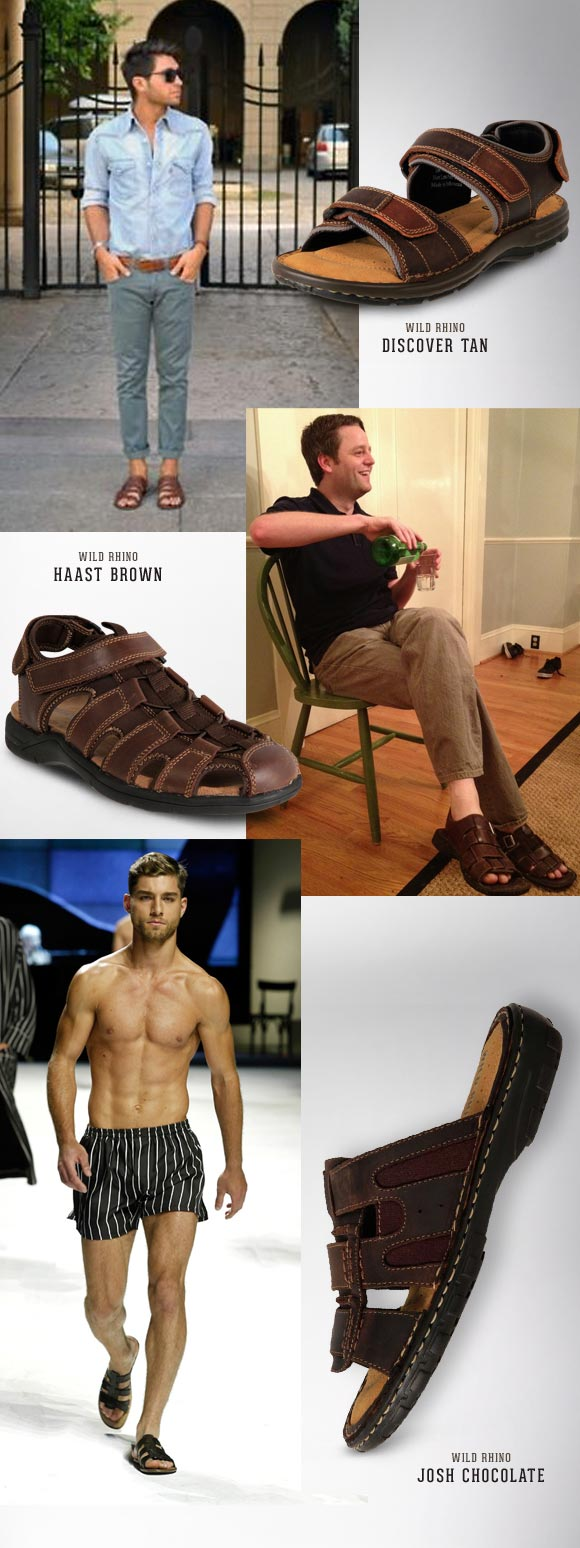 Wild Rhino Stylish Brown Leather Sandals For Men