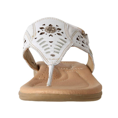 WOMEN'S LEATHER COMFORT FLAT SANDAL GYPSY WHITE