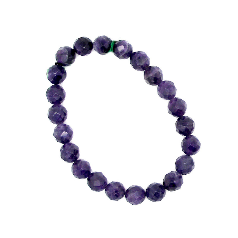 Amethyst Bracelet Stretch Crystal Heart