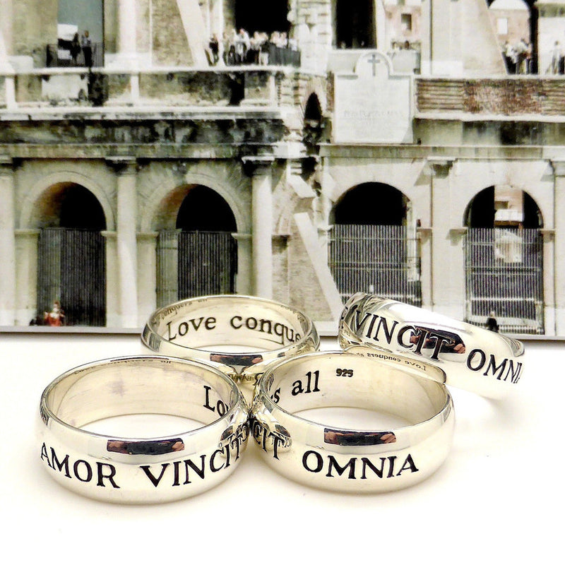 Ring Ancient Roman Latin Motto | 925 Sterling Silver | Amorvincit Omnia | Love conquers all | English translation inside | Made & Designed by Crystal Heart Australia