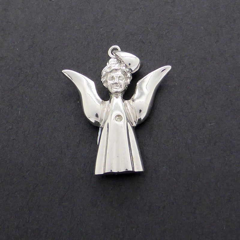 Small Angel Pendant | 925 Silver | Natural Diamond in heart Chakra | White Gold plated to maintain shine | Crystal Heart Melbourne Australia since 1986