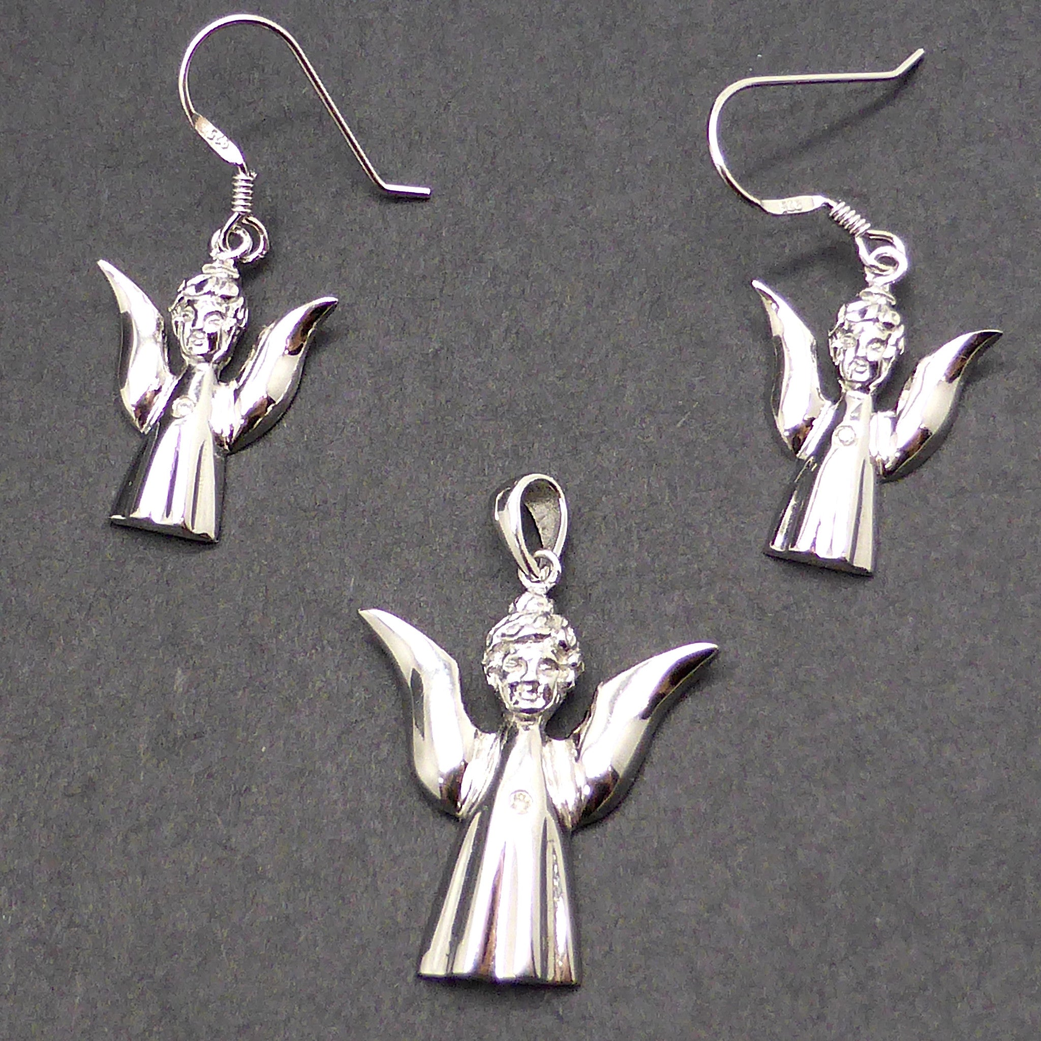 Angel Silver Diamond Pendant Earring Set