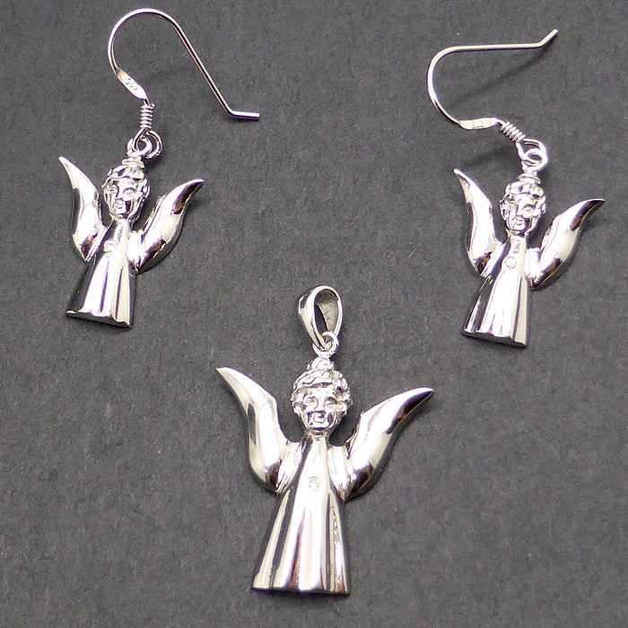 Silver Angel diamond Heart Set Earring Pendant